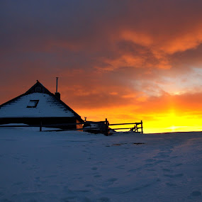 Sunset at Velika planina by Silva Predalič - Landscapes Sunsets & Sunrises ( velika planina, winter, sunset, snow, evening, , cold )