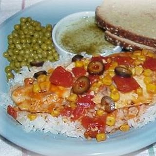 Tilapia with Tomatoes, Black Olives and Corn.