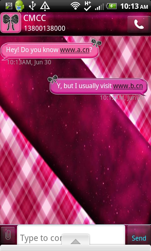 GO SMS THEME/GirlyPlaidCPK - screenshot