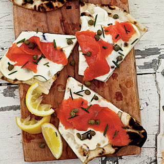 Grilled Smoked Salmon Pizza.