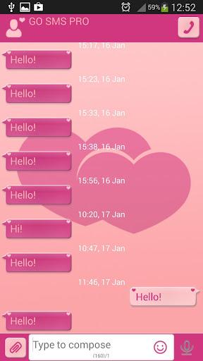 GO短信加强版粉红色的心