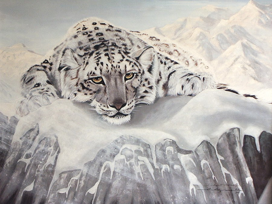 Illusive Solitude by Linda Rous - Painting All Painting ( wild cat, big cat, cat, white on white, art, wildlife, painting, oil painting, snow leopard, animal )