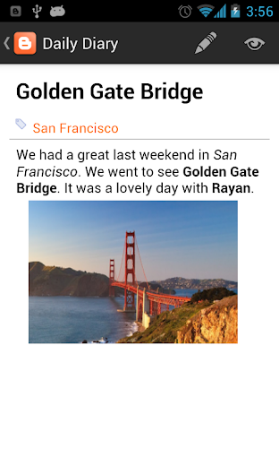 Screenshot 4 for Blogger's Android app'