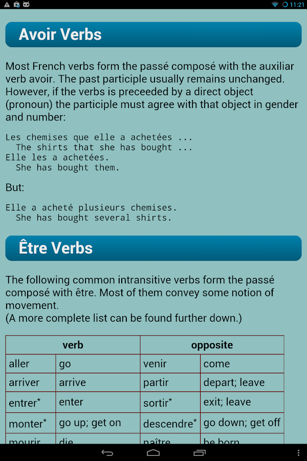 French Verbs - screenshot