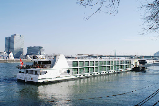 Tauck's 118-passenger Swiss Sapphire river cruise ship in Cologne, Germany.