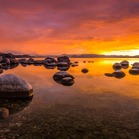Tahoe Glass by Mike Lindberg - Landscapes Sunsets & Sunrises ( water, reflection, sierra nevada, eastern sierra, california, nevada, tahoe, lake, sierra, lake tahoe )