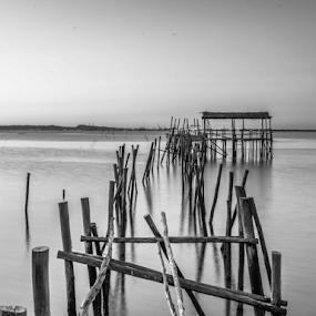 Old Dock by Eugénio Buchinho - Black & White Buildings & Architecture