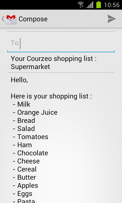 Grocery list Courzeo - screenshot