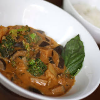 Massaman Curry with Eggplant and Broccoli.