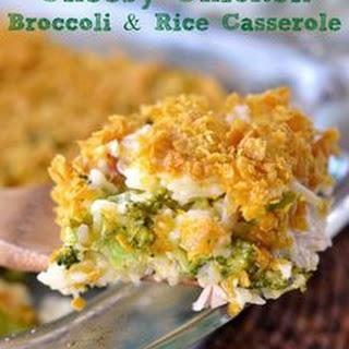 Cheesy Chicken Broccoli & Rice Casserole.