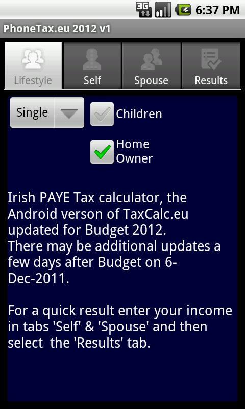 PhoneTax.eu Eire TaxCalc 2017- screenshot