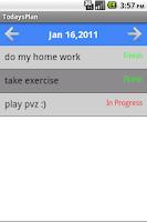 Screenshot of Todays Plan