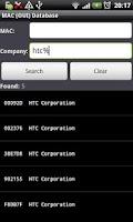 Screenshot of MAC (OUI) Database
