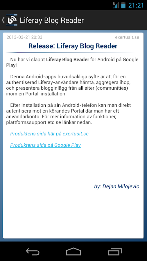 Liferay Blog Reader- screenshot
