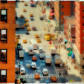 NY-Street by Bill Morris - City,  Street & Park  Street Scenes ( taxi, cars, street, buildig, windows )