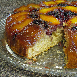 Peach and Blackberry Upside-down Cake
