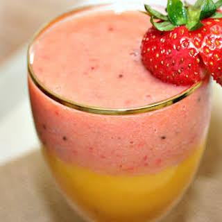 Layered Strawberry and Mango Smoothie.