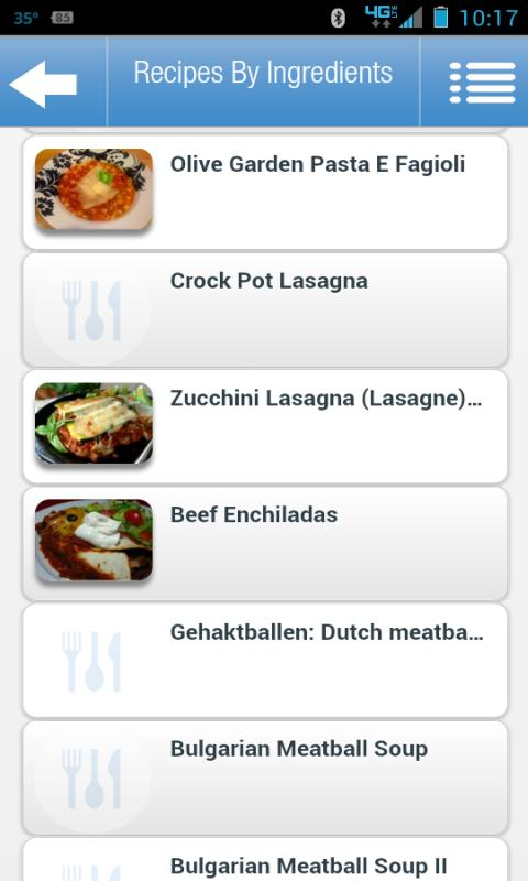 Recipes by Ingredients- screenshot