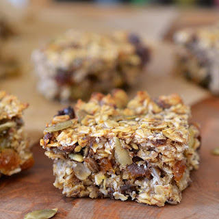 Cakey, Oaty Energy Bars Packed with Fruits & Seeds.