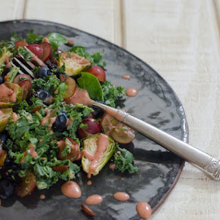 Super Greens Salad with Strawberry Balsamic Dressing