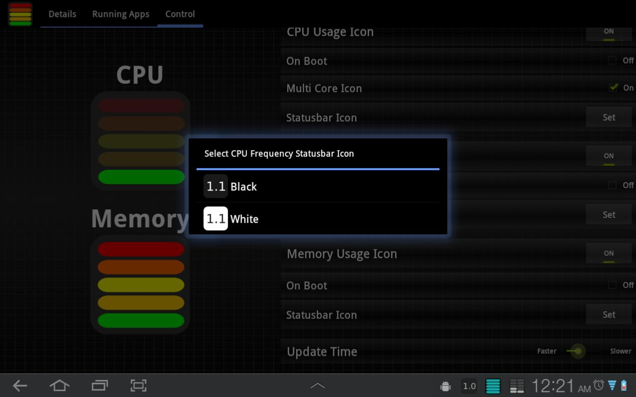 Tablet CPU Usage Monitor - screenshot