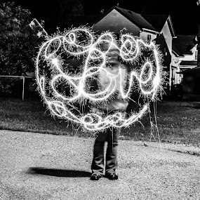 She loves me by Chris Reynolds - Black & White Portraits & People ( love, forever, july 4th, beauty, sparklers )