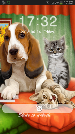 GO鎖屏主題的狗貓
