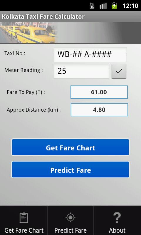 Kolkata Taxi Fare Calculator - screenshot