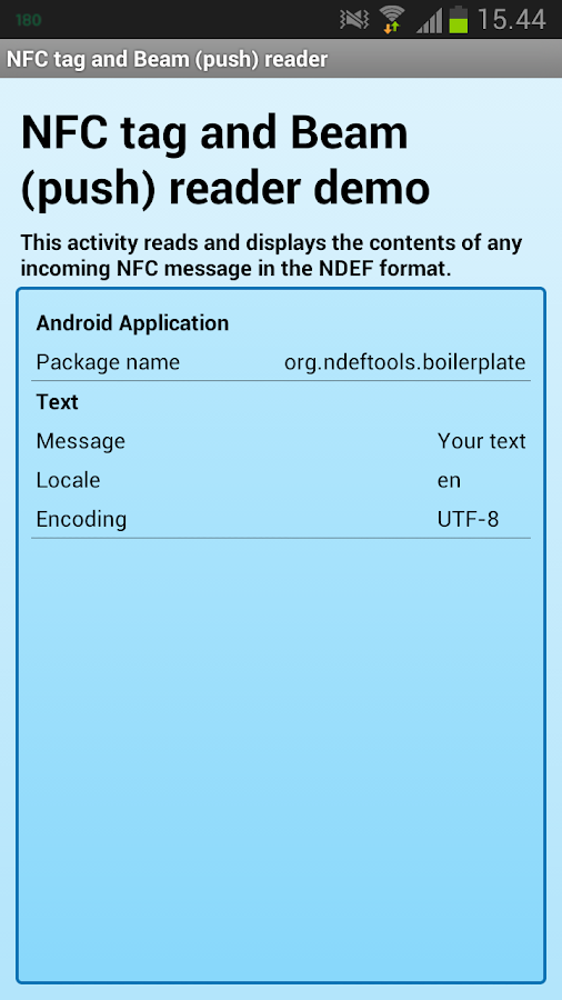 NDEF Tools for Android- screenshot