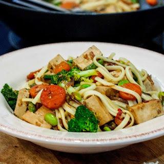 Teriyaki Tofu and Edamame Stir Fry with Noodles