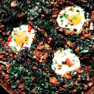 Mushroom Paella with Kale and Eggs