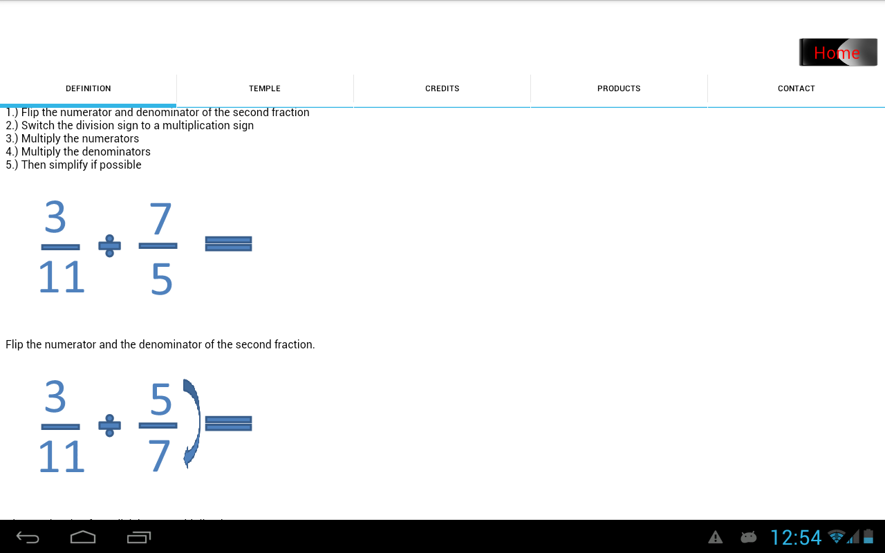 Dividing Fractions Screenshot