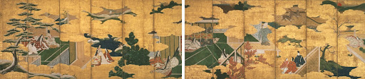 Folding Screen with Design of the Scenes from The Tales of Genji