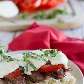 Open Face Caprese Steak Sandwich