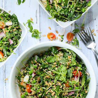 Quinoa Kale and pea salad