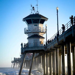Swells by the Pier  by Dory Formiller - Landscapes Waterscapes ( water, sand, structure, reflection, waterscape, waves, landscape, people, buildings, pier, bridge, white water, pillars,  )
