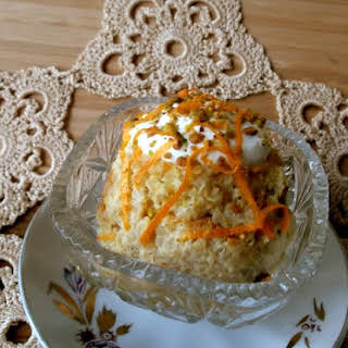 Baked Quinoa Pudding with Persimmon and Pistachios.