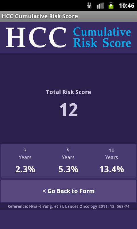 HCC Risk Calculator - screenshot