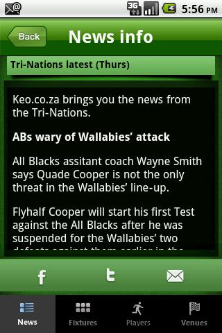Keo.co.za Rugby App- screenshot