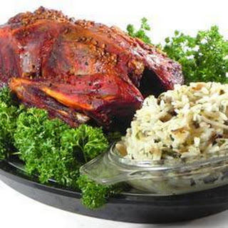 Roast Duck with Wild and Brown Rice Stuffing.