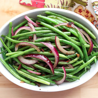 Simple Skillet Green Beans with Bacon and Red Onions.