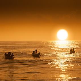 Fishermen near chennai coast by Shaik Mohaideen - People Professional People ( ennore, sunrise, fishing, boat, chennai,  )
