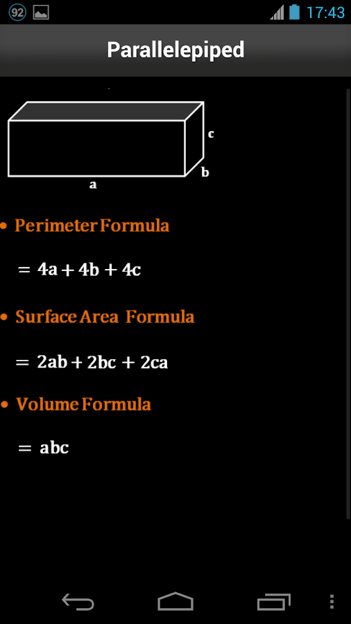 Area & Volume Formulas- screenshot