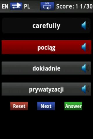 Vocabulary Trainer (PL/EN) Int - screenshot