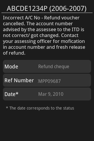 India Income Tax Refund Status- screenshot