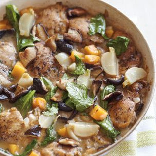 Chicken with Squash, Turnips and Shiitakes