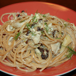 WW Spag with Roast Chicken, Currants, Fennel and Mascarpone.