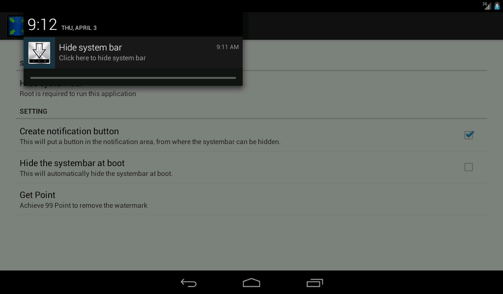 hide system bar screen android apps on play
