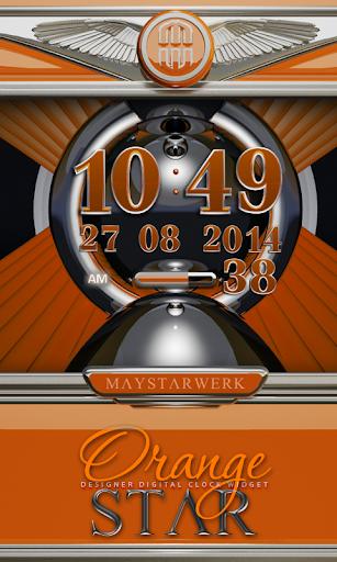 Digi Clock Widget Orange Star
