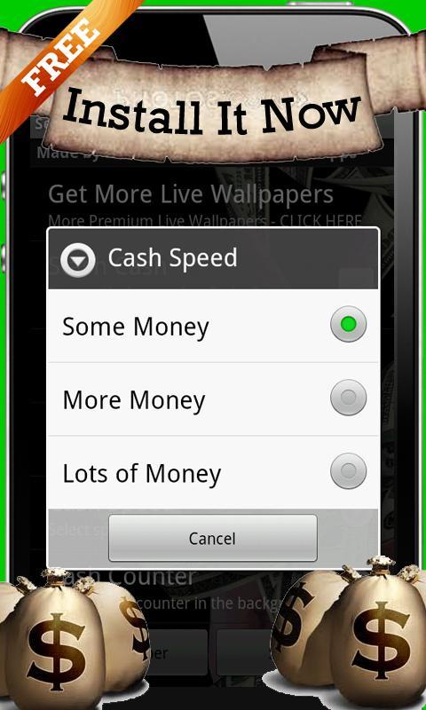 Cash In Hands Live Wallpaper - screenshot